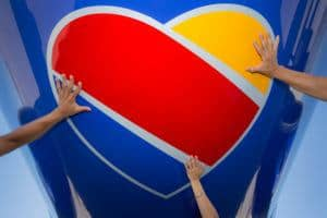 Pictured: the heart logo for Southwest Airlines. The heart logo embodies Southwest's company values.